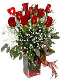 Ankara Anadolu çiçek siparişi vermek  9 adet mika yada cam vazoda gül tanzimi kalp çubuk