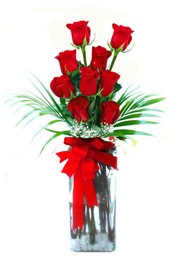 Ankara Anadolu çiçekçi telefonları  9 adet mika yada cam vazoda gül tanzimi