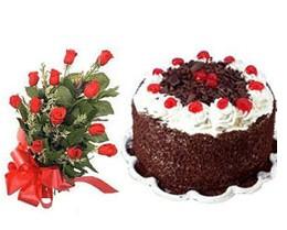 Ankara Anadolu ucuz çiçek gönder  10 adet kirmizi gül buketi ve yaspasta