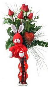 Ankara Anadolu çiçekçiler  Vazo içinde 5 adet gül ( pelus kalp çubuk )