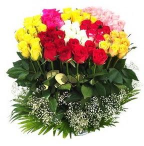 Ankara Anadolu çiçek mağazası , çiçekçi adresleri  51 adet renkli güllerden aranjman tanzimi