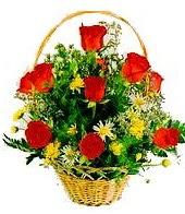 9 adet gül ve sepette kır çiçekleri  Ankara Anadolu internetten çiçek satışı
