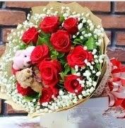 7 adet kırmızı gül 2 adet 10 cm ayı buketi  Ankara Anadolu çiçek siparişi vermek