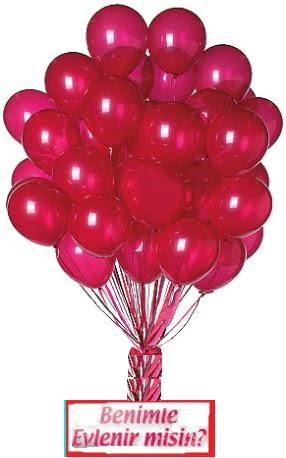 50 adet uçan balon ve seni seviyorum yazısı