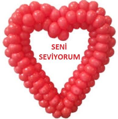 Seni seviyorum yazılı kalp balon