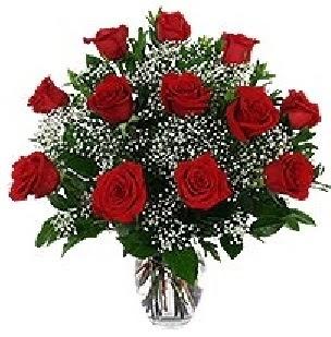 Ankara Anadolu çiçekçi mağazası  12 adet kırmızı gülden vazo tanzimi
