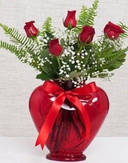 Kalp içerisinde 5 adet kırmızı gül  Ankara Anadolu çiçekçi telefonları