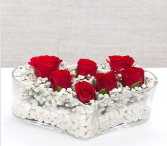 kalp içerisinde 7 adet kırmızı gül  Ankara Anadolu çiçek siparişi vermek