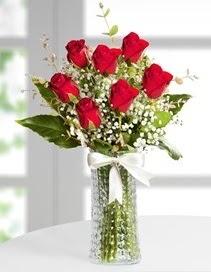 Cam vazoda 7 adet kırmızı gül  Ankara Anadolu çiçek , çiçekçi , çiçekçilik