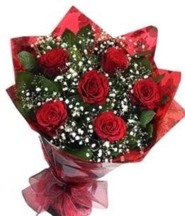 6 adet kırmızı gülden buket  Ankara Anadolu yurtiçi ve yurtdışı çiçek siparişi