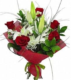 1 dal kazablanka 5 kırmızı gül buketi  Ankara Anadolu kaliteli taze ve ucuz çiçekler