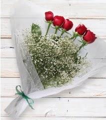 5 kırmızı gülden sade buket  Ankara Anadolu çiçek yolla