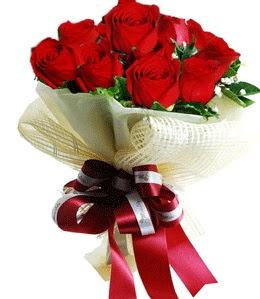 9 adet kırmızı gülden buket tanzimi  Ankara Anadolu çiçek gönderme sitemiz güvenlidir