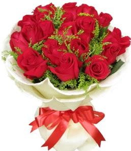 19 adet kırmızı gülden buket tanzimi  Ankara Anadolu çiçek servisi , çiçekçi adresleri
