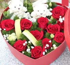 2 adet ayıcık 9 kırmızı gül kalp içerisinde  Ankara Anadolu internetten çiçek satışı