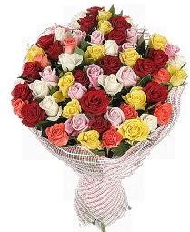 51 adet rengarenk gül buketi  Ankara Anadolu çiçek mağazası , çiçekçi adresleri