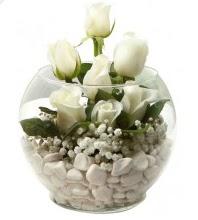 11 adet beyaz gül cam fanus çiçeği  Ankara Anadolu çiçek mağazası , çiçekçi adresleri