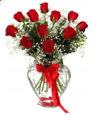9 adet kırmızı gül cam kalpte  Ankara Anadolu online çiçekçi , çiçek siparişi