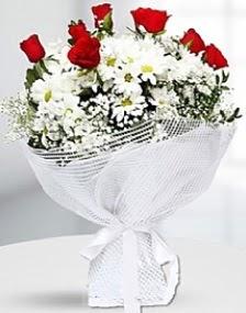 7 kırmızı gül ve papatyalar buketi  Ankara Anadolu internetten çiçek satışı