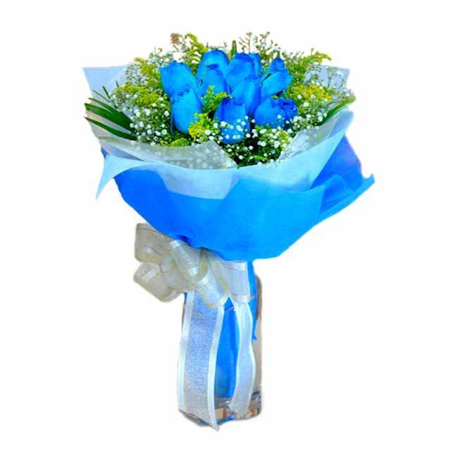 7 adet mavi gül buketi  Ankara Anadolu çiçek , çiçekçi , çiçekçilik