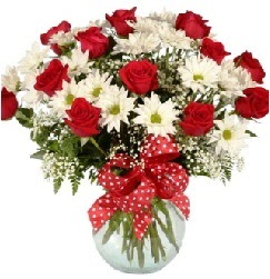 12 adet kırmızı gül papatya vazosu süper  Ankara Anadolu çiçekçi telefonları