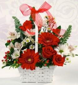 Karışık rengarenk mevsim çiçek sepeti  Ankara Anadolu internetten çiçek siparişi