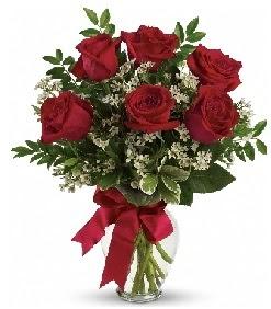 Cam vazo içerisinde 6 adet kırmızı gül  Ankara Anadolu çiçek gönderme