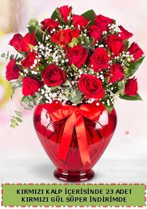 Kırmızı kalp içerisinde 23 adet kırmızı gül  Ankara Anadolu çiçek satışı