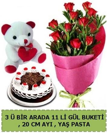 Yaşpasta ayıcık ve gül buketi herşey içinde  Ankara Anadolu çiçek gönderme sitemiz güvenlidir