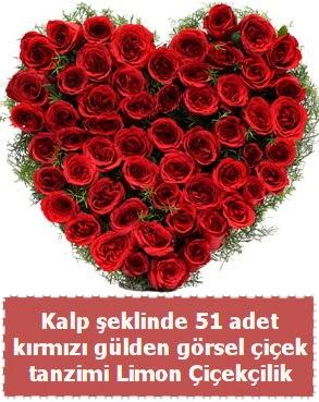 51 kırmızı gülden kalp şeklinde çiçek tanzim  Ankara Anadolu çiçek satışı