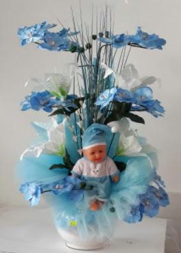 Mavi cam bebekli bebek doğum çiçeği  Ankara Anadolu çiçek satışı