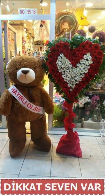 1.5 Metre peluş ayı ve Kalp  Ankara Anadolu çiçek gönderme sitemiz güvenlidir