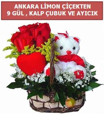 Kalp çubuk sepette 9 gül ve ayıcık  Ankara Anadolu çiçekçi telefonları