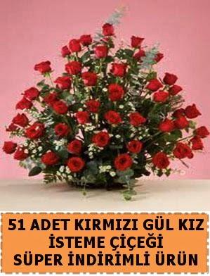 51 Adet kırmızı gülden kız isteme çiçeği  Ankara Anadolu internetten çiçek satışı
