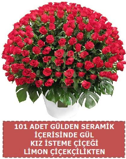Seramik vazoda 101 gül kız isteme çiçeği  Ankara Anadolu çiçek gönderme
