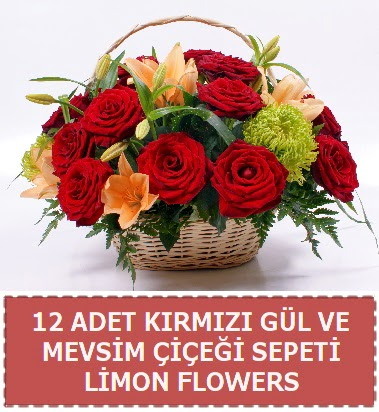 12 gül ve mevsim çiçekleri sepeti  Ankara Anadolu hediye çiçek yolla