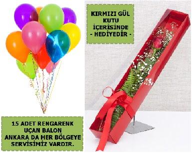 15 Adet uçan balon ve kutuda kırmızı gül  Ankara Anadolu çiçek , çiçekçi , çiçekçilik