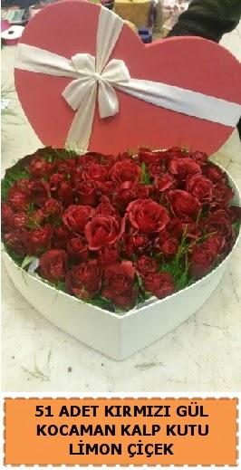 51 adet kırmızı gül kocaman kalp kutu  Ankara Anadolu çiçek gönderme