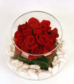 Cam fanusta 11 adet kırmızı gül  Ankara Anadolu çiçek gönderme