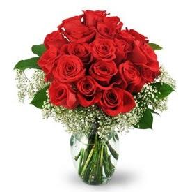 25 adet kırmızı gül cam vazoda  Ankara Anadolu çiçek , çiçekçi , çiçekçilik