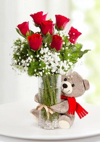 Cam vazoda 7 kırmızı gül ve peluş ayı  Ankara Anadolu çiçekçi telefonları