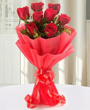 9 adet kırmızı gülden modern buket  Ankara Anadolu Anadolu İnternetten çiçek siparişi