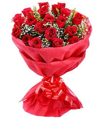 21 adet kırmızı gülden modern buket  Ankara Anadolu çiçek gönderme