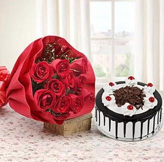 12 adet kırmızı gül 4 kişilik yaş pasta  Ankara Anadolu çiçek , çiçekçi , çiçekçilik