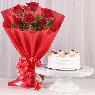 6 Kırmızı gül ve 4 kişilik yaş pasta  Ankara Anadolu çiçek , çiçekçi , çiçekçilik