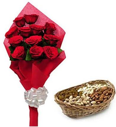11 adet kırmızı gül ve sepette kuruyemiş  Ankara Anadolu internetten çiçek satışı