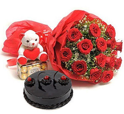 12 kırmızı gül ayıcık çikolata ve yaş pasta  Ankara Anadolu çiçek gönderme