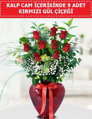 Kırmızı kalp camda 9 kırmızı gül  Ankara Anadolu çiçek satışı