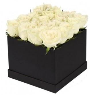 Kare kutuda 19 adet beyaz gül aranjmanı  Ankara Anadolu çiçekçi telefonları